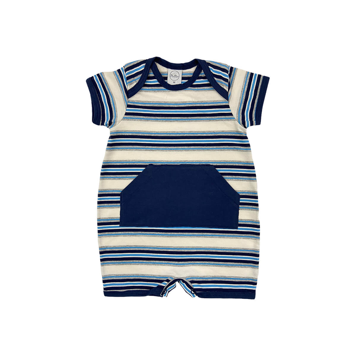 Sleeper Curto Listrado Azul c/ Bolso