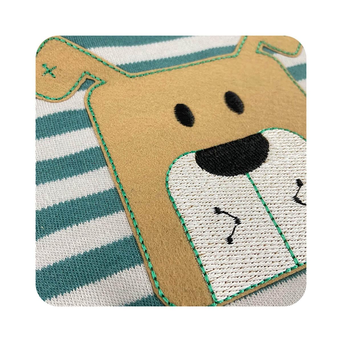Sleeper Pezinho Reversível Listrado Cachorrinho Verde  - Piu Blu