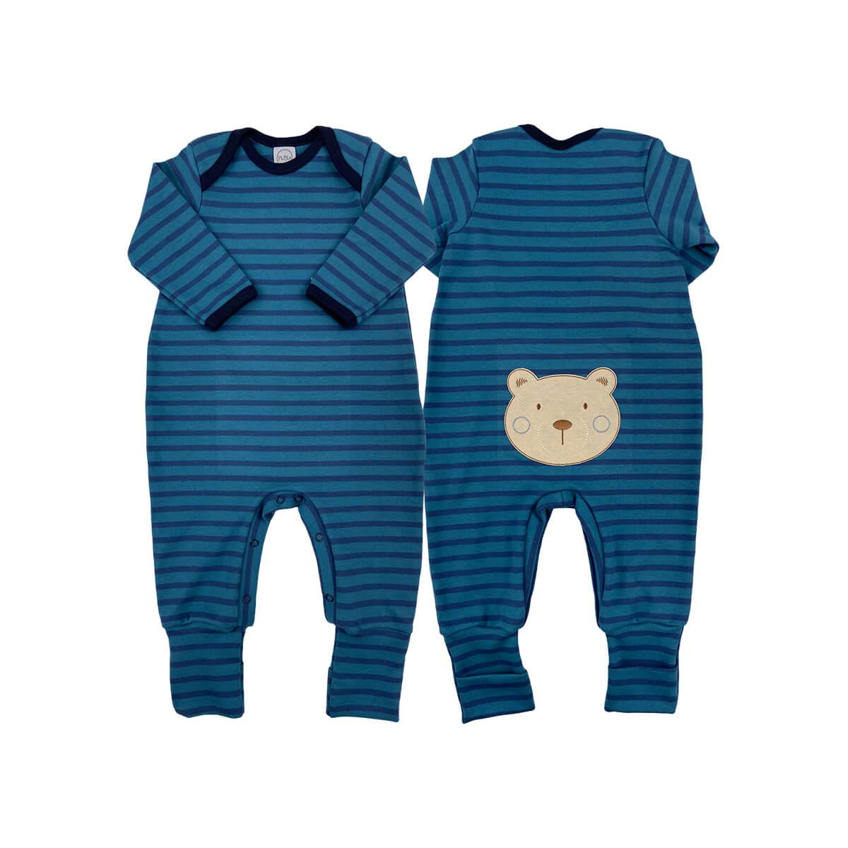 Sleeper Pezinho Reversível Listrado Ursinho Azul