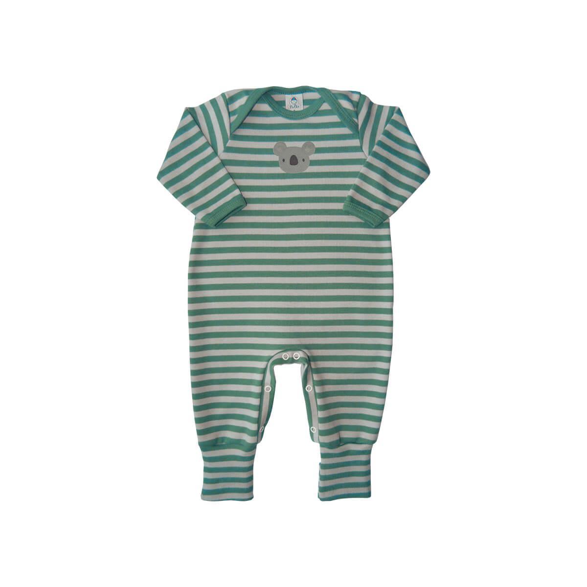 Macacão Bebê Pezinho Reversível Listrado Coalinha Verde