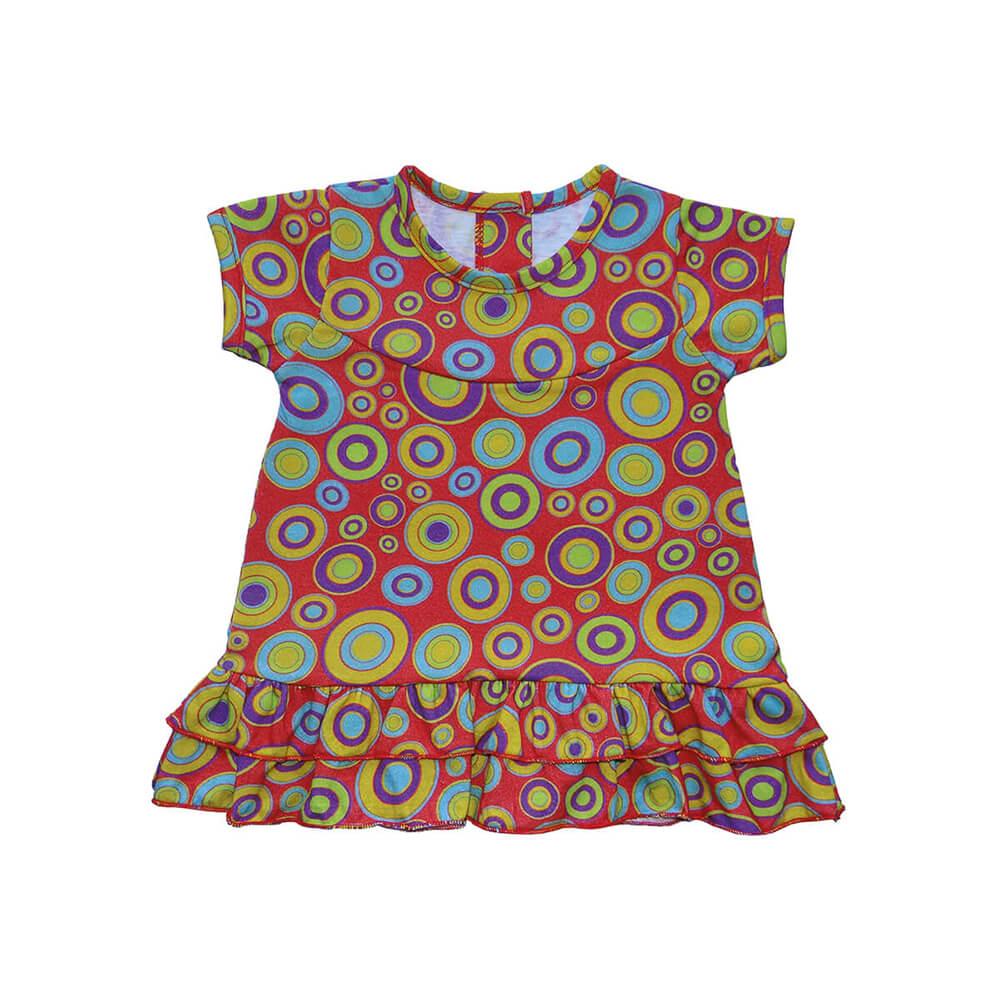 Vestido Infantil Círculos - 1 ao 3