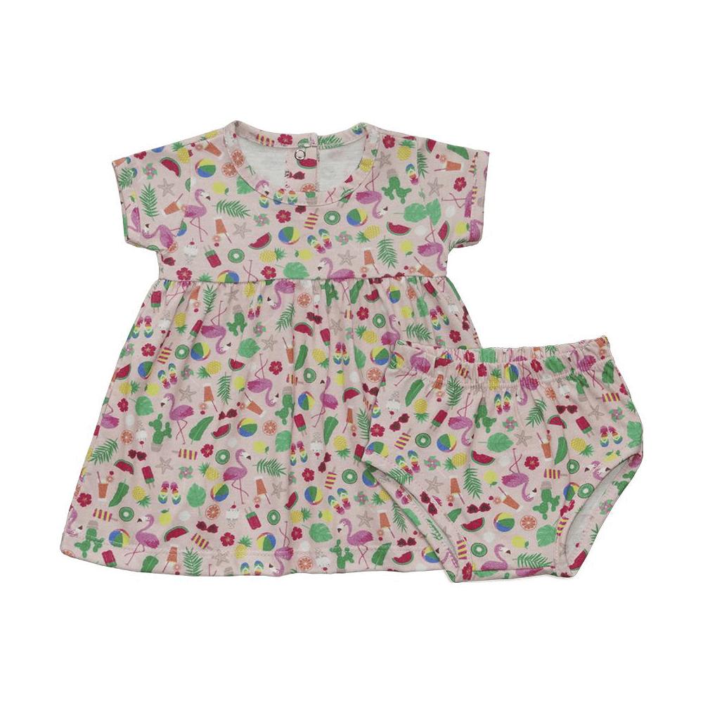 Vestido Infantil Flamingos  - Piu Blu