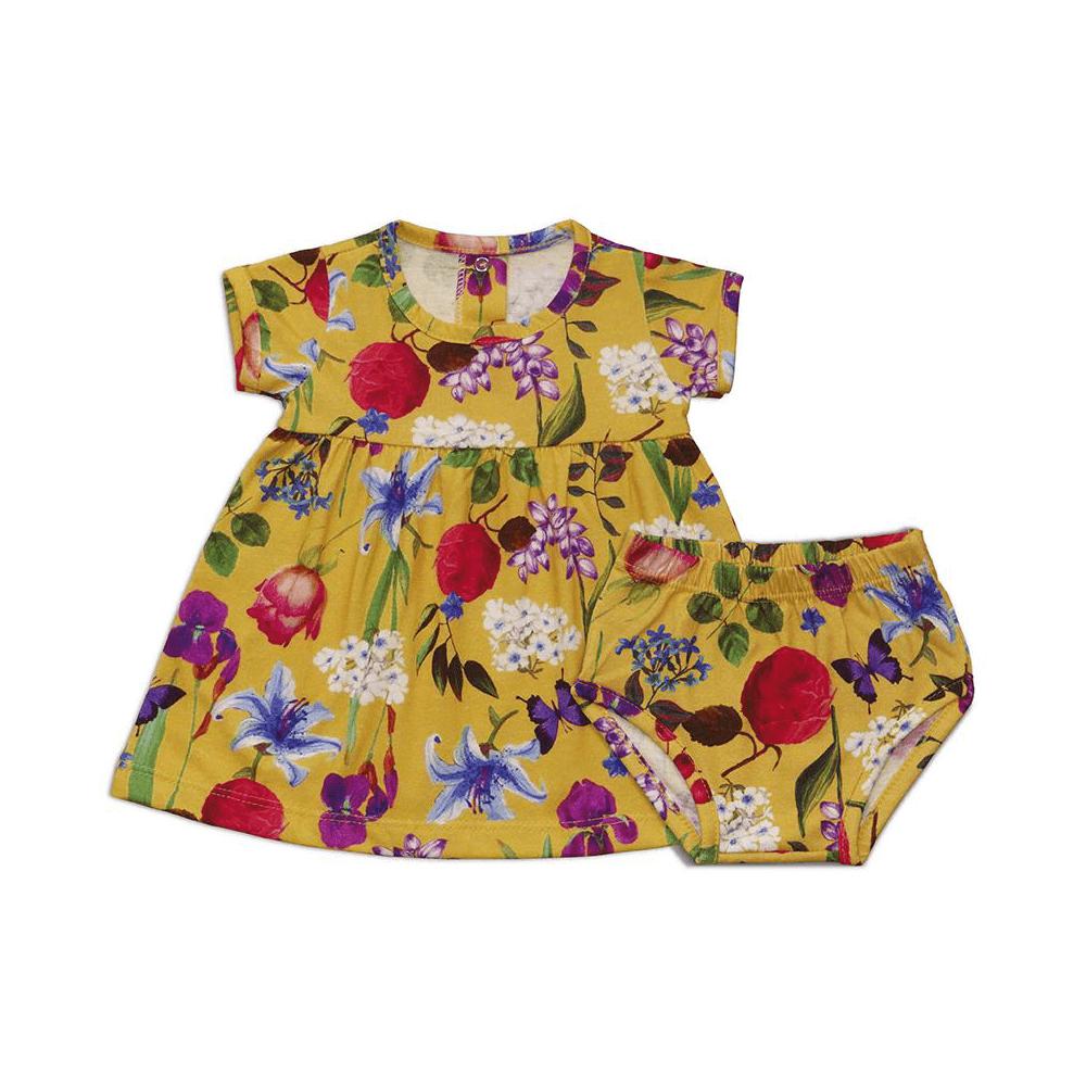 Vestido Infantil Floral Amarelo - 1 ao 3