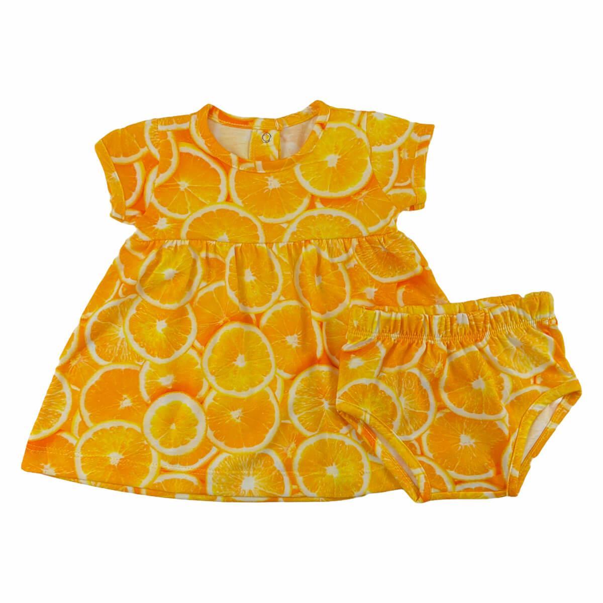 Vestido Laranjas 1 ao 3 Malha 100% Algodão  - Piu Blu