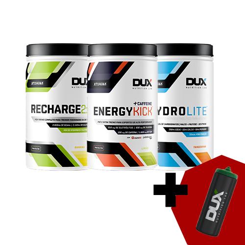 DUX : Energykick Caffeine (1kg) + Recharge 2:1 (1kg) + Hydrolite (1kg) + Squeeze 800ml (BRINDE)