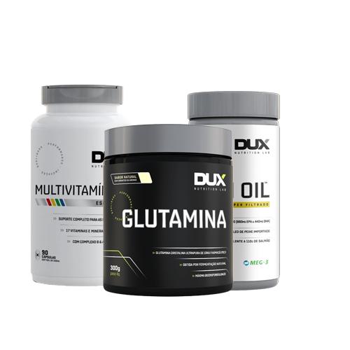 Dux: Glutamina (300g) + Multivitamínico (90 Cápsulas) + Fish Oil (120 Cápsulas)