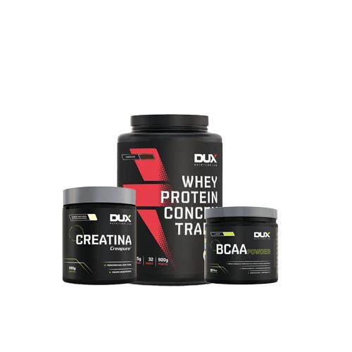 Dux: Whey Concentrado (900g) + Creatina (300g) + BCAA Powder (200g)
