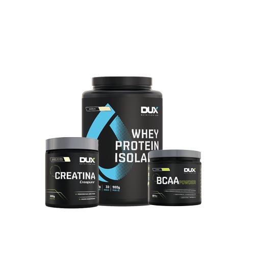 Dux: Whey Isolado (900g) + Creatina (300g) + BCAA Powder (200g)
