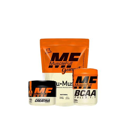 Muscle Full: Albumina (450g) + Creatina (100g) + Full BCAA (100g)