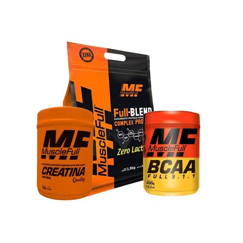 Muscle Full: Full Blend (1,8kg) + Creatina Quality(300g) + Full BCAA (300g)