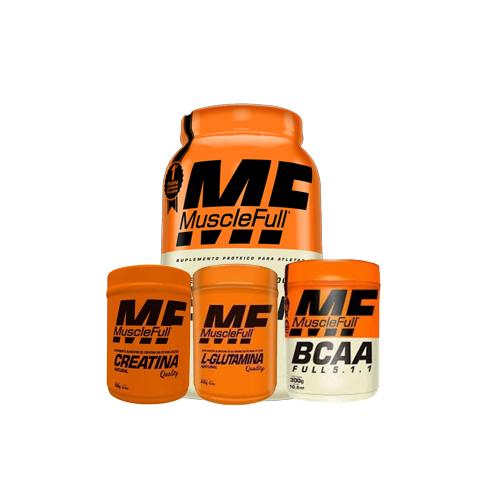 Muscle Full: Iso Full (900g) + Creatina (300g) + Full BCAA (300g) + L-Glutamina Quality (300g)