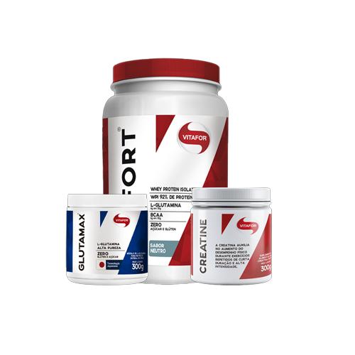 Vitafor: Creatina (300g) + Whey Isofort (900g) + Glutamax (300g)