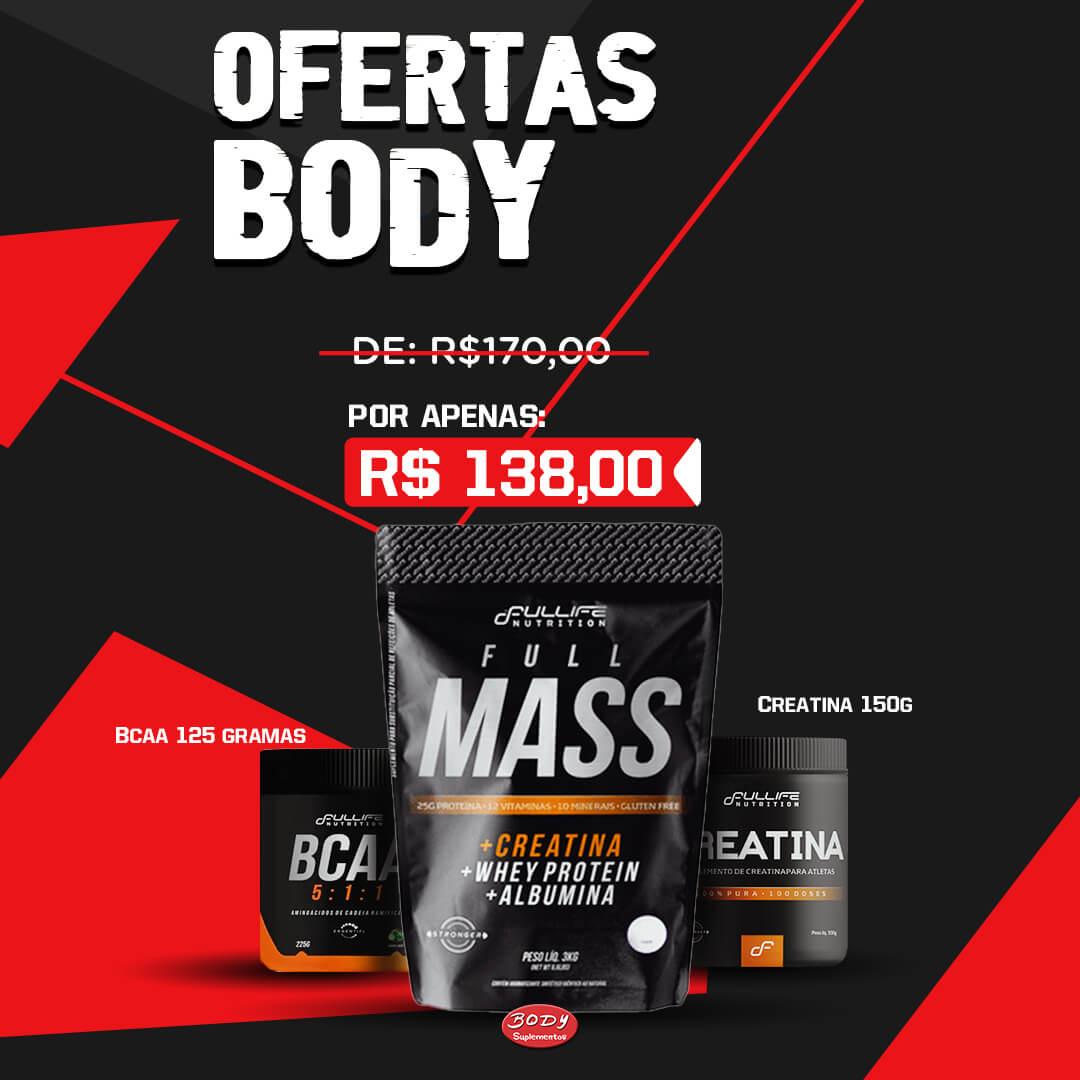 Oferta Body - Kit ganho de Massa Full life: full mass 3kg + creatina full life 150g + bcaa 5:1:1 full life 125g