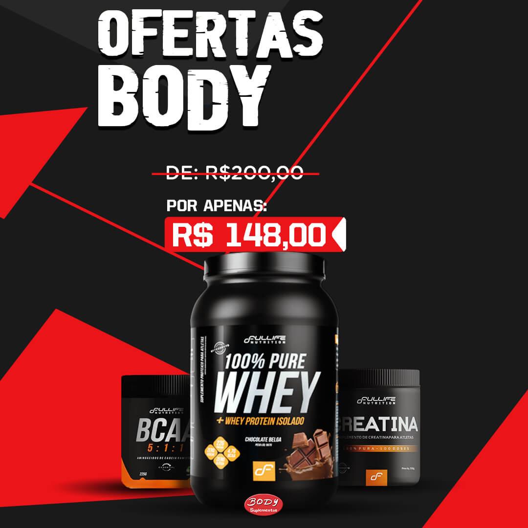 Oferta Body - Kit ganho de Massa whey 100% pure 900g full life + creatina full life 150g + bcaa 5:1:1 full life 125g