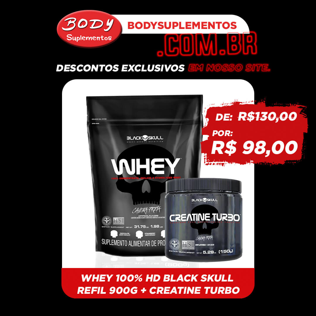 Oferta Body - Whey  Caveira Preta Black Skull 900g refil + creatina turbo 150g Black Skull