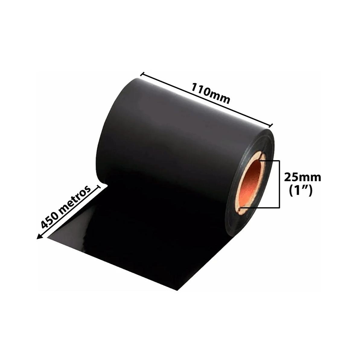 06 rolos de Ribbons - Cera preta 110mm x 450Mts