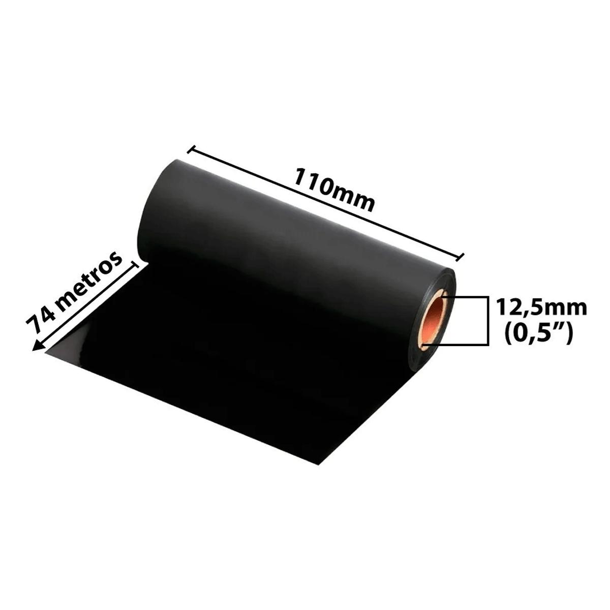 24 rolos de Ribbons - Cera preta 110mm x 74Mts