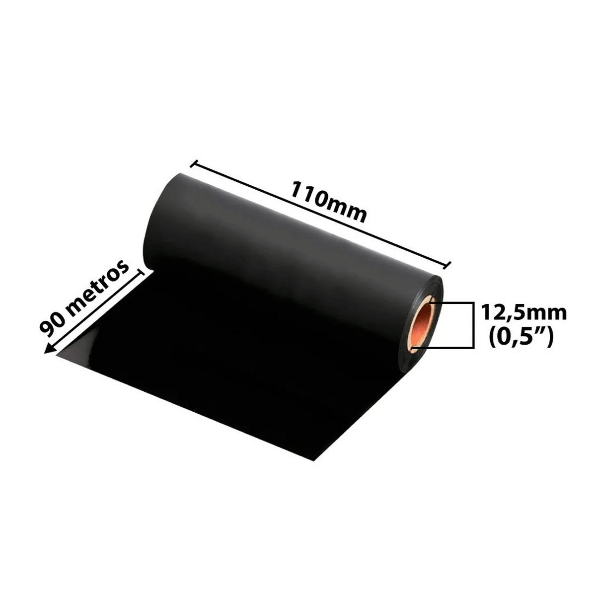 24 rolos de Ribbons - Cera preta 110mm x 91Mts