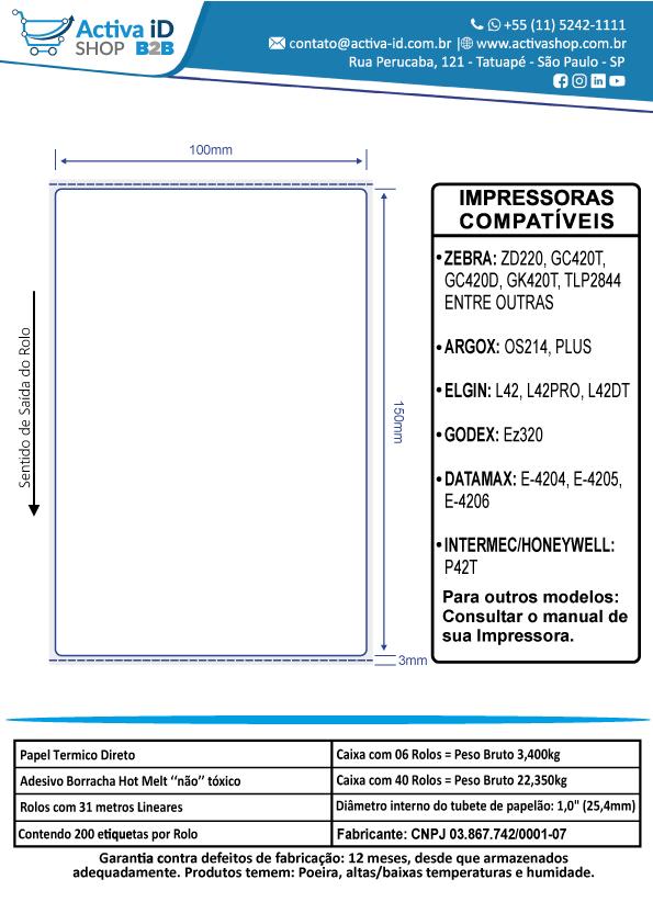 40 Rolos de Etiqueta Térmica 100x150mm Serrilha Mercado Envios