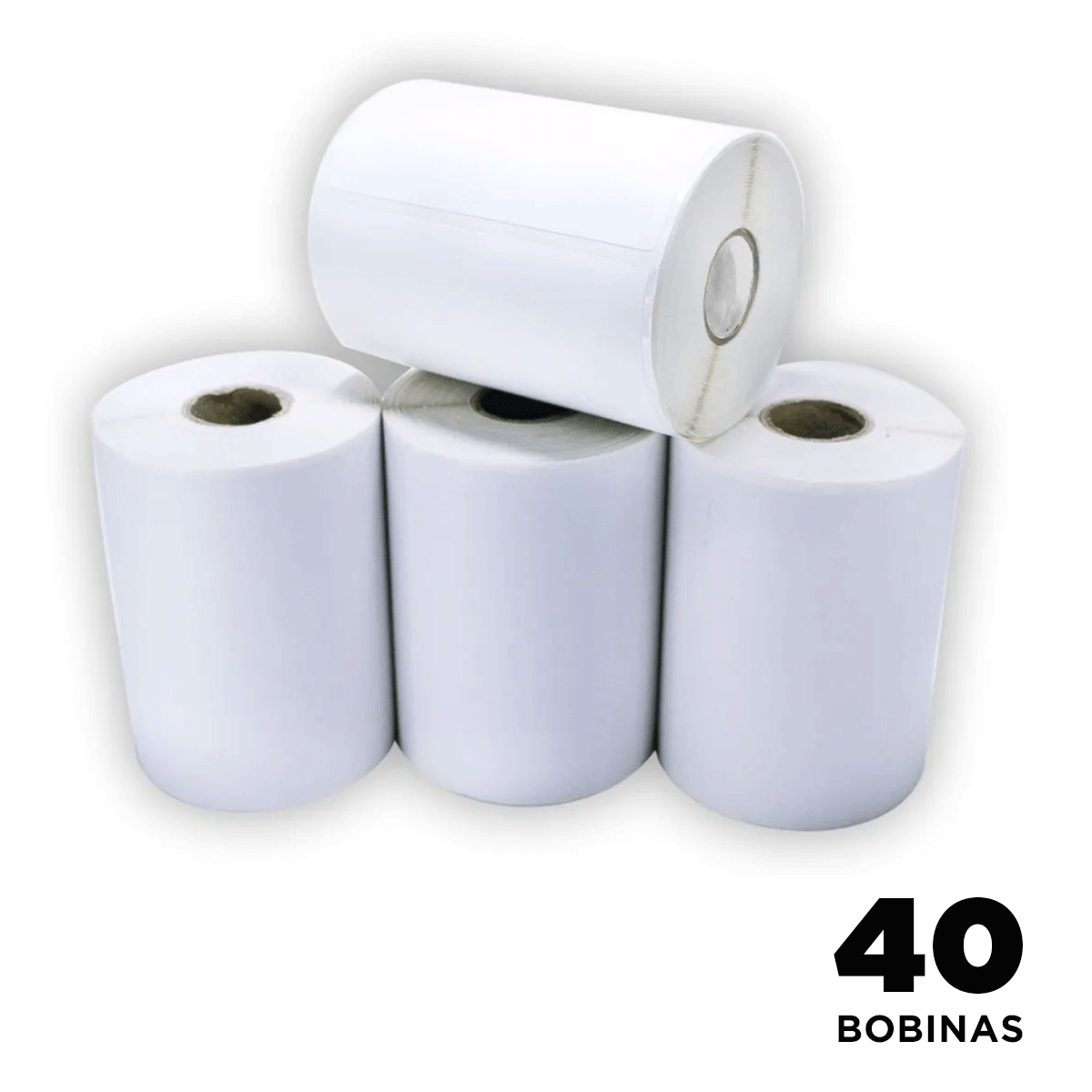 40 Rolos de Etiquetas Premium 100x50mm Neutra Branca Serrilha