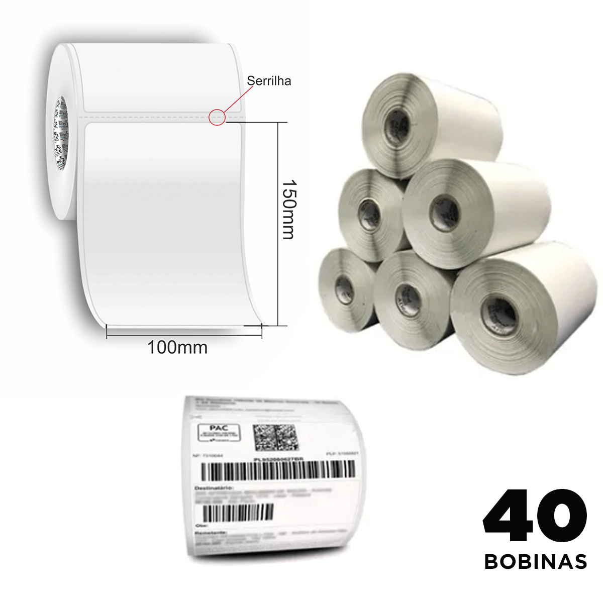 40 Rolos de Etiquetas Premium 10x15 Neutra Branca Serrilha Mercado Envios