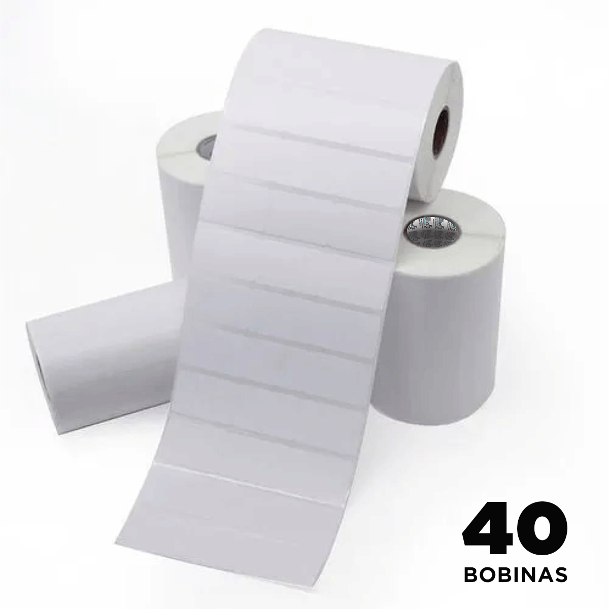 40 Rolos de Etiquetas Premium 34x23mm Couchê Branco Brilho