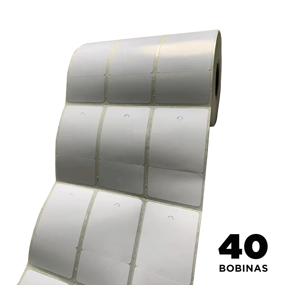 40 Rolos de Etiquetas Premium 34x60mm Neutra Branca Serrilha