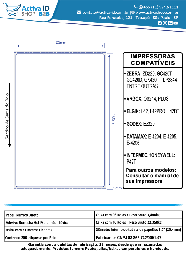 6 Rolos de Etiqueta Térmica 100x150mm Serrilha Mercado Envios