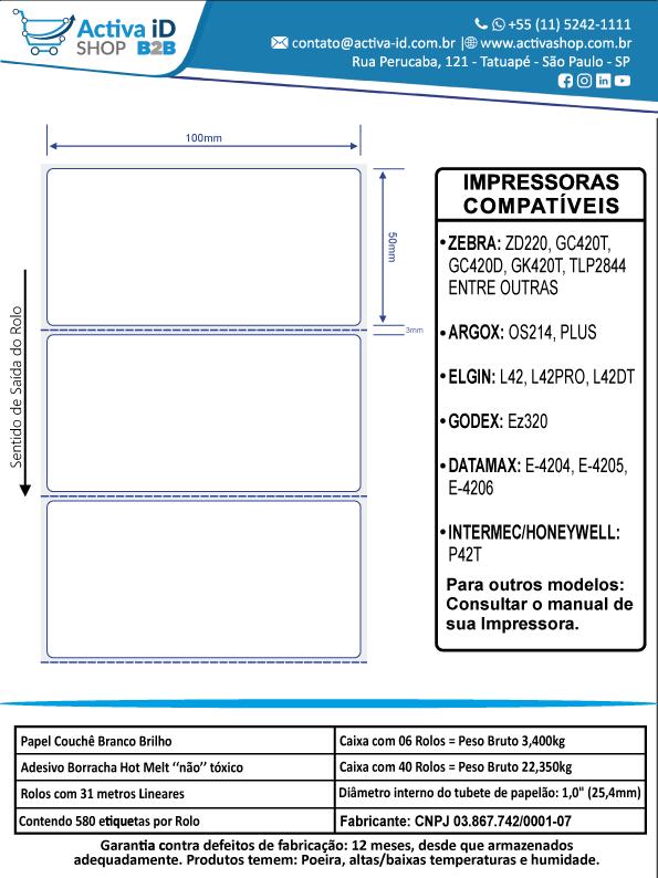 6 Rolos de Etiquetas Premium 100x50mm Neutra Branca Serrilha