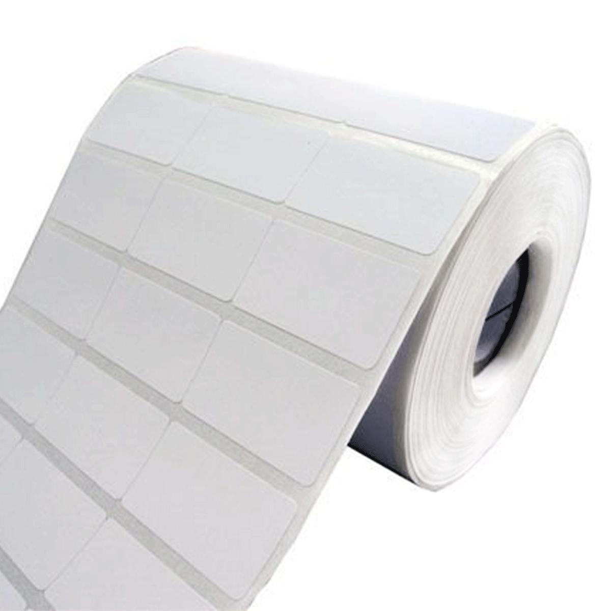 6 Rolos de Etiquetas Premium 34x23mm Couchê Branco Brilho