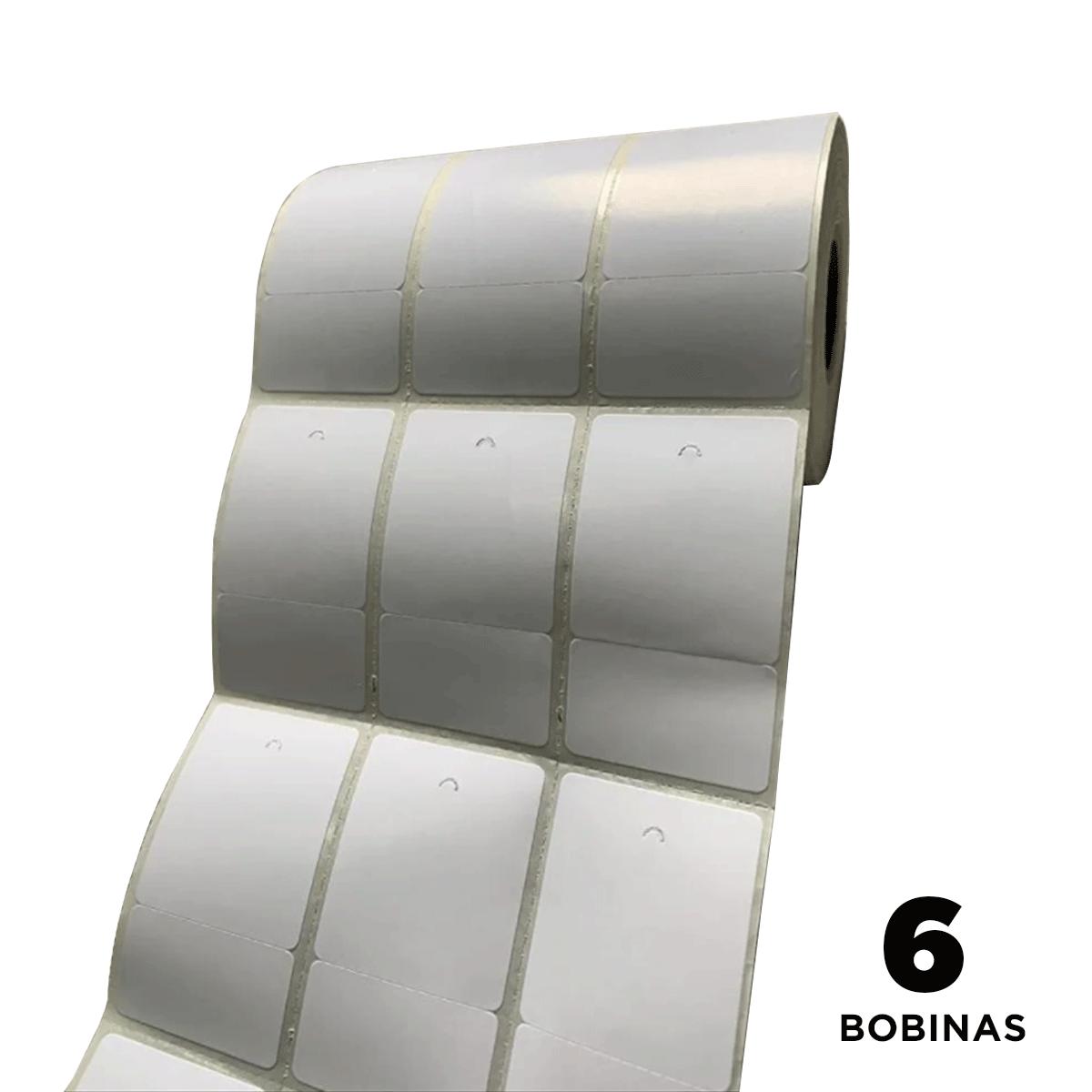 6 Rolos de Etiquetas Premium 34x60mm Neutra Branca Serrilha