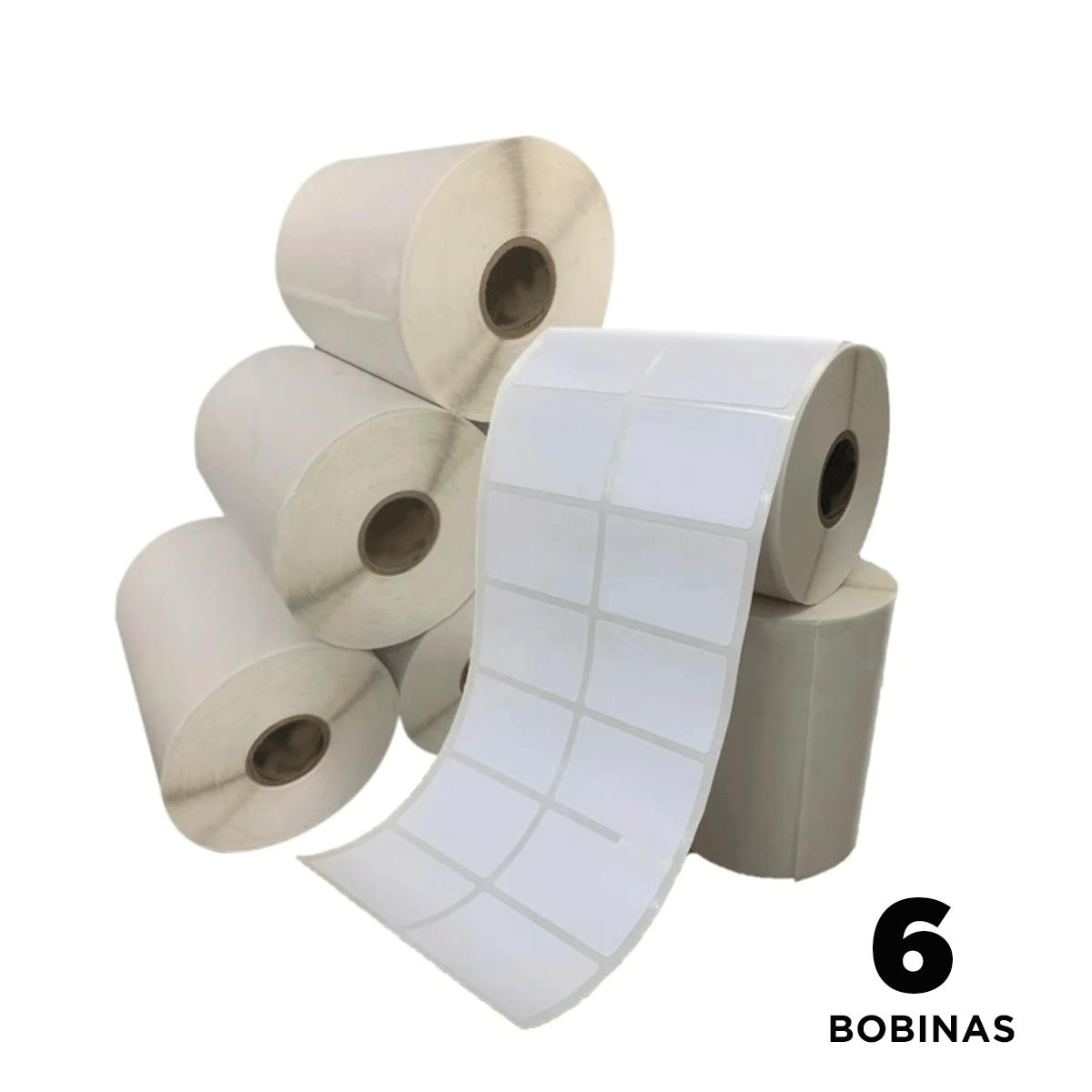 6 Rolos de Etiquetas Premium 50X30 Neutra Branca Serrilha