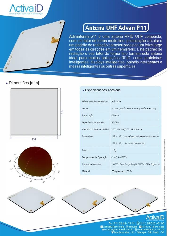 Antena UHF Advan P11 para tecnologia RFID