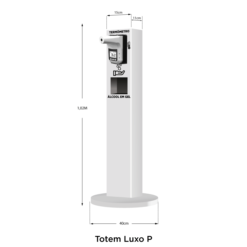 Totem Estação de Higienização Automático Acrílico Luxo Pequeno
