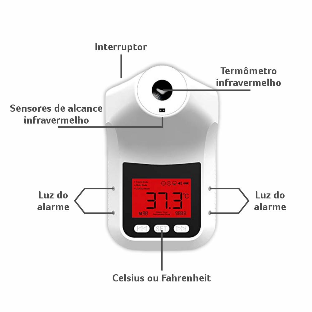 KIT Totem + Termômetro TPA PRO + Dispenser LUV-L