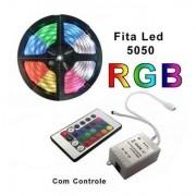 Fita Led Colorida Rgb 5 Metros Controle E Fonte P/ Decoração