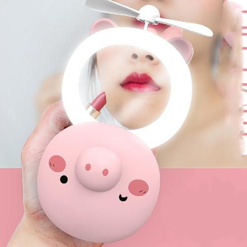 Porquinho 3 Em 1 Para Maquiagem, Ventilador, Led E Espelho
