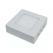 Plafon LED Sobrepor 6W Quadrado / Branco Quente