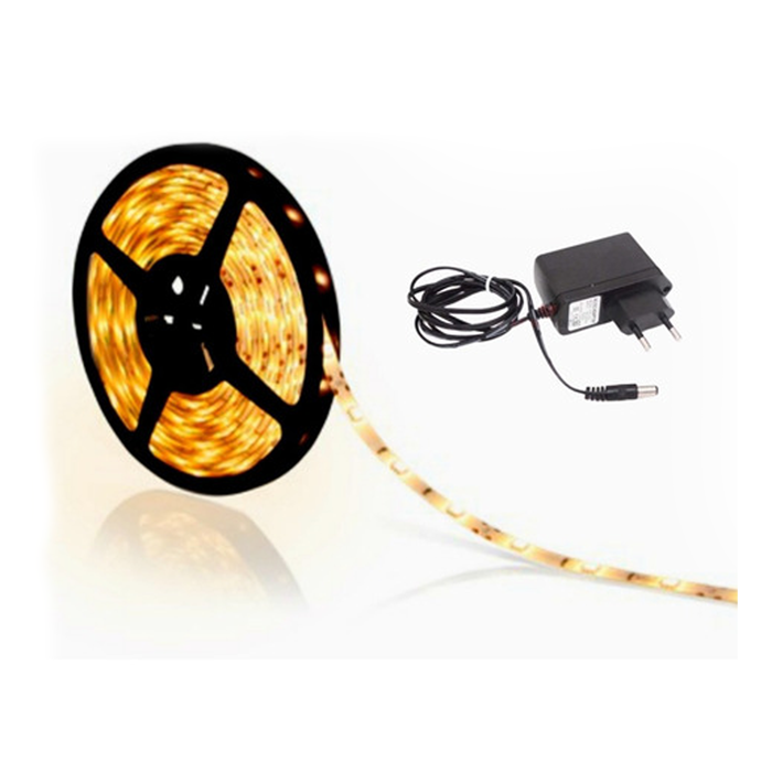 Fita LED 3528 5m / Com Fonte / Branco quente