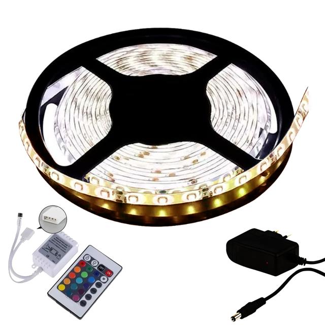 Fita LED 5050 5m/ Com Fonte/ Branco Quente