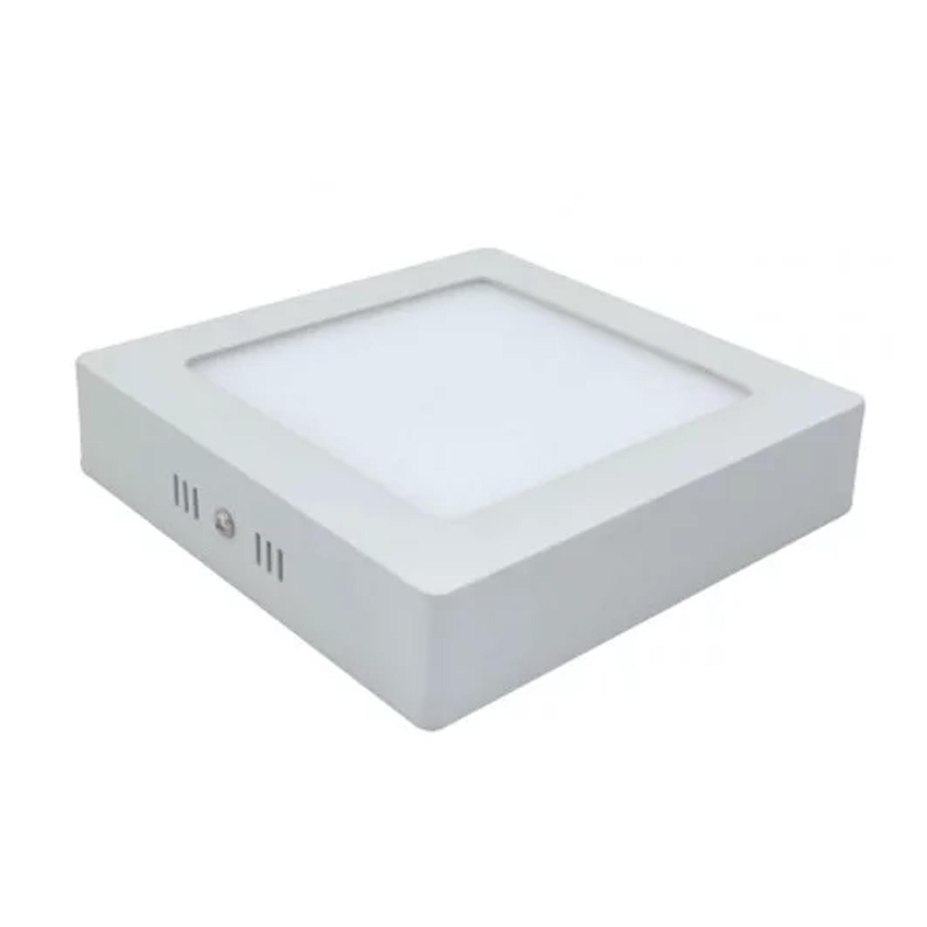 Plafon LED Sobrepor 12W Quadrado / Branco Quente