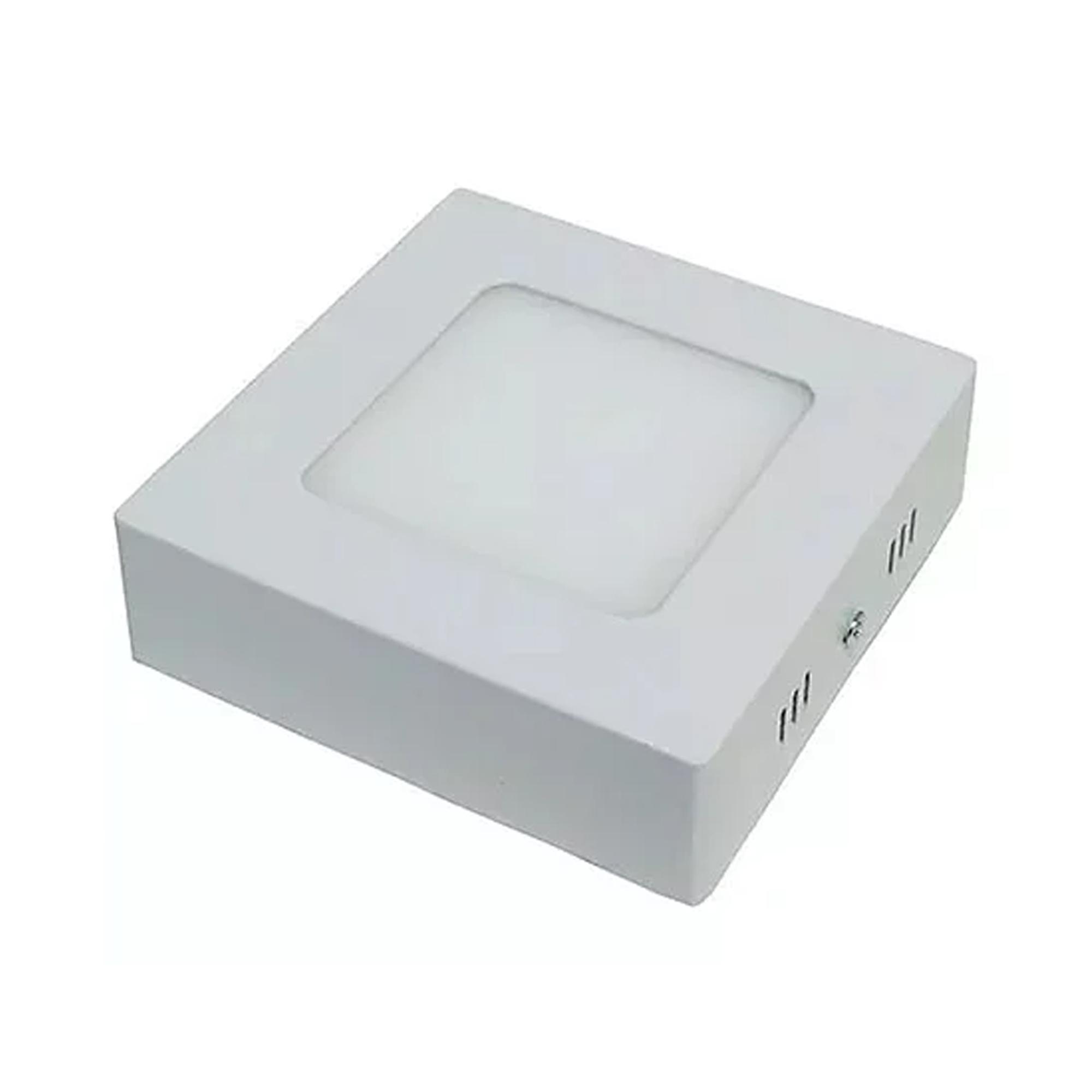 Plafon LED Sobrepor 6W Quadrado / Branco Frio