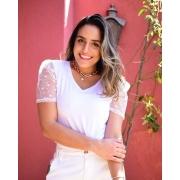 T-shirt Branca Manga Tule e Poá