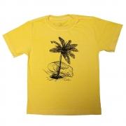 Camiseta Stone Amarelo Estampa Frontal Coqueiro Calif