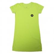 Vestido Calif Malha Verde Neon com Aplique Logo e Estampa Costas