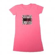 Vestido Calif Malha Rosa Estilo Camiseta