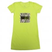 Vestido Calif Malha Verde Neon Estilo Camiseta