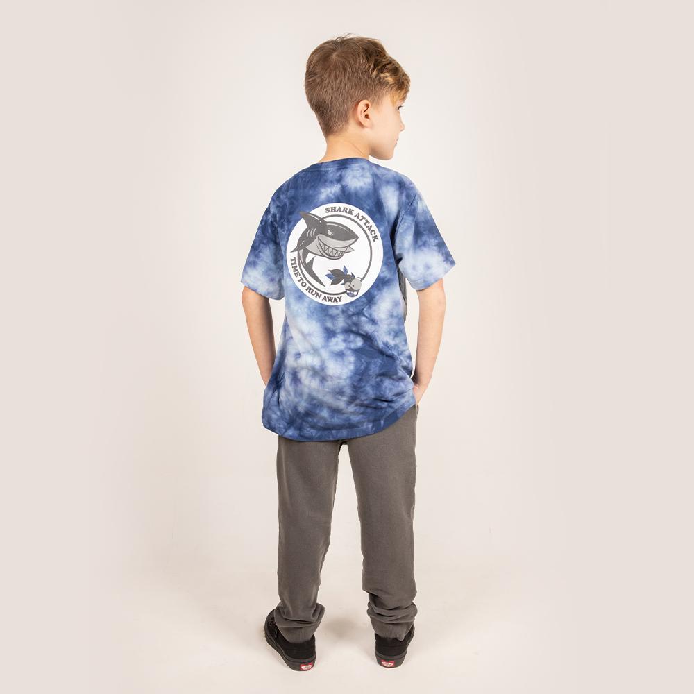 Camiseta Manga Curta Stone Estampa Tubarão Azul Petroleo TieDye