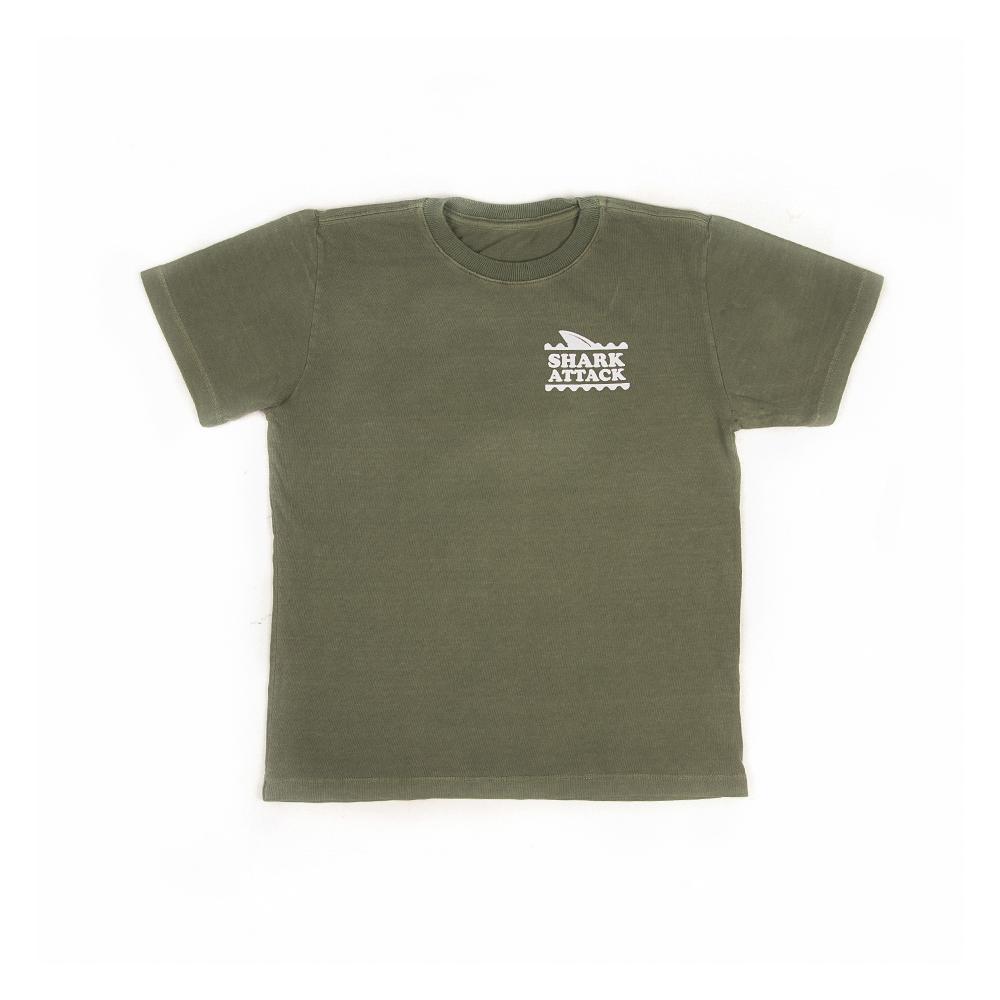Camiseta Manga Curta Stone Estampa Tubarão Verde Oliva