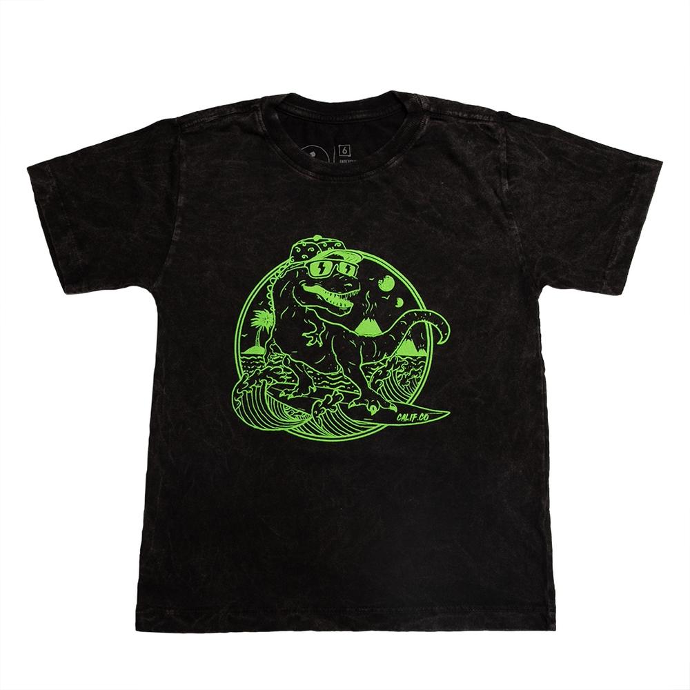 Camiseta Stone Preta Estampa Frontal  Dino Calif